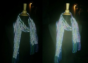 Light up the night, scarf photographed with flash.